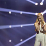 Slovenia's Ana Soklič took the Ahoy stage to run her first rehearsal of Amen
