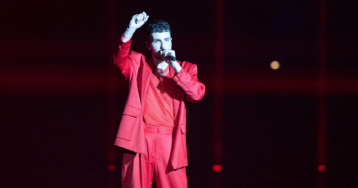 Duncan Laurence opens the first semi final of the 2021 Eurovision Song Contest in Rotterdam Ahoy, 18 May 2021